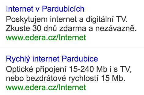Schválně, který má 12 % a který 3 % CTR na slovo internet pardubice?