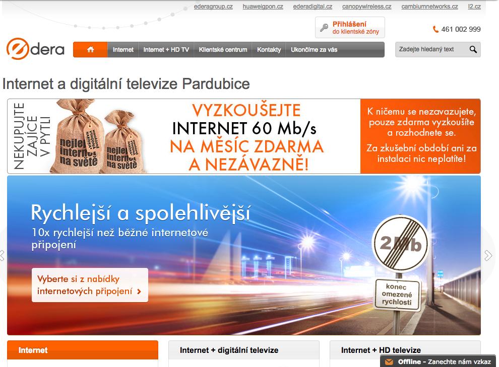 Screenshot původního webu edera.cz